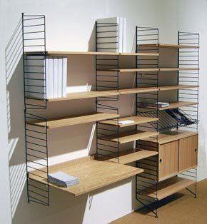 nisse strinning 39 s string shelving system string system shelves and apartments. Black Bedroom Furniture Sets. Home Design Ideas