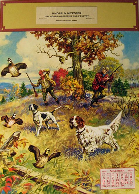 1939 Emmett Watson Hunting Print Calendar Sample Hunting Art