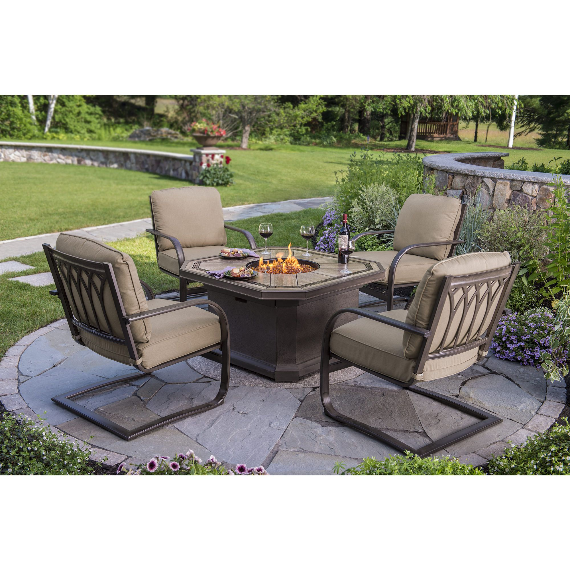 berkley jensen 5 piece fire pit set with spring cushions outdoor