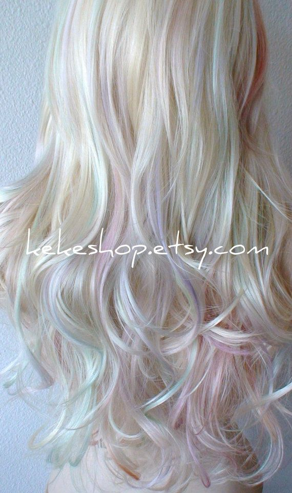 Pastel Wig Rainbow Wig Platinum Blonde Pastel Colored Wig Long Wavy Hairstyle One Of Kind Random Hand Dye Artistic Wig Hair Color Rainbow Wig Hair Color Pastel