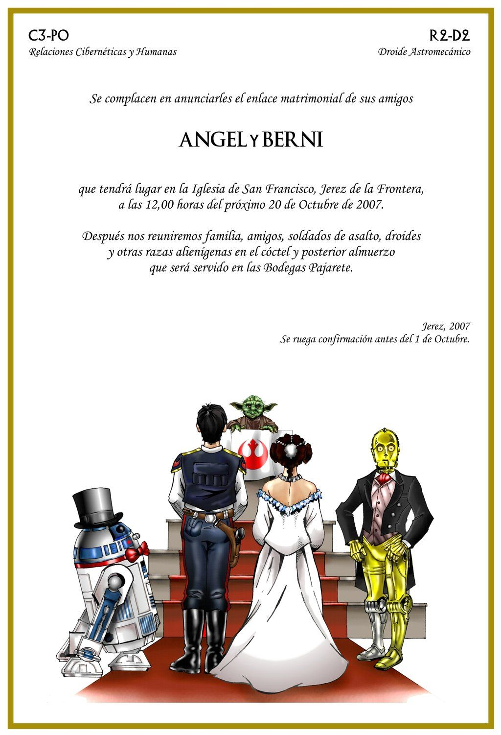 5 Star Wars Wedding Card by angelsaquerodeviantartcom To call