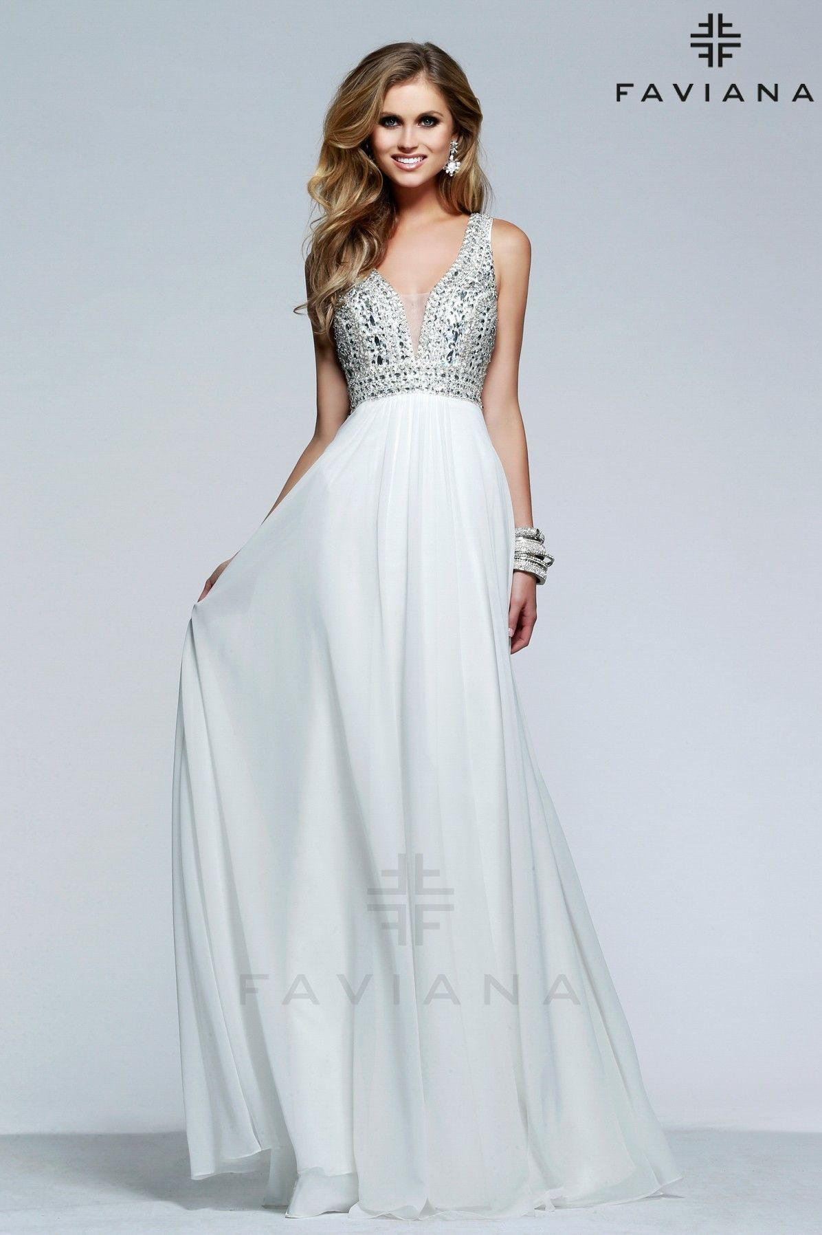 2919e4b927d Chiffon v-neck evening dress with beaded bodice