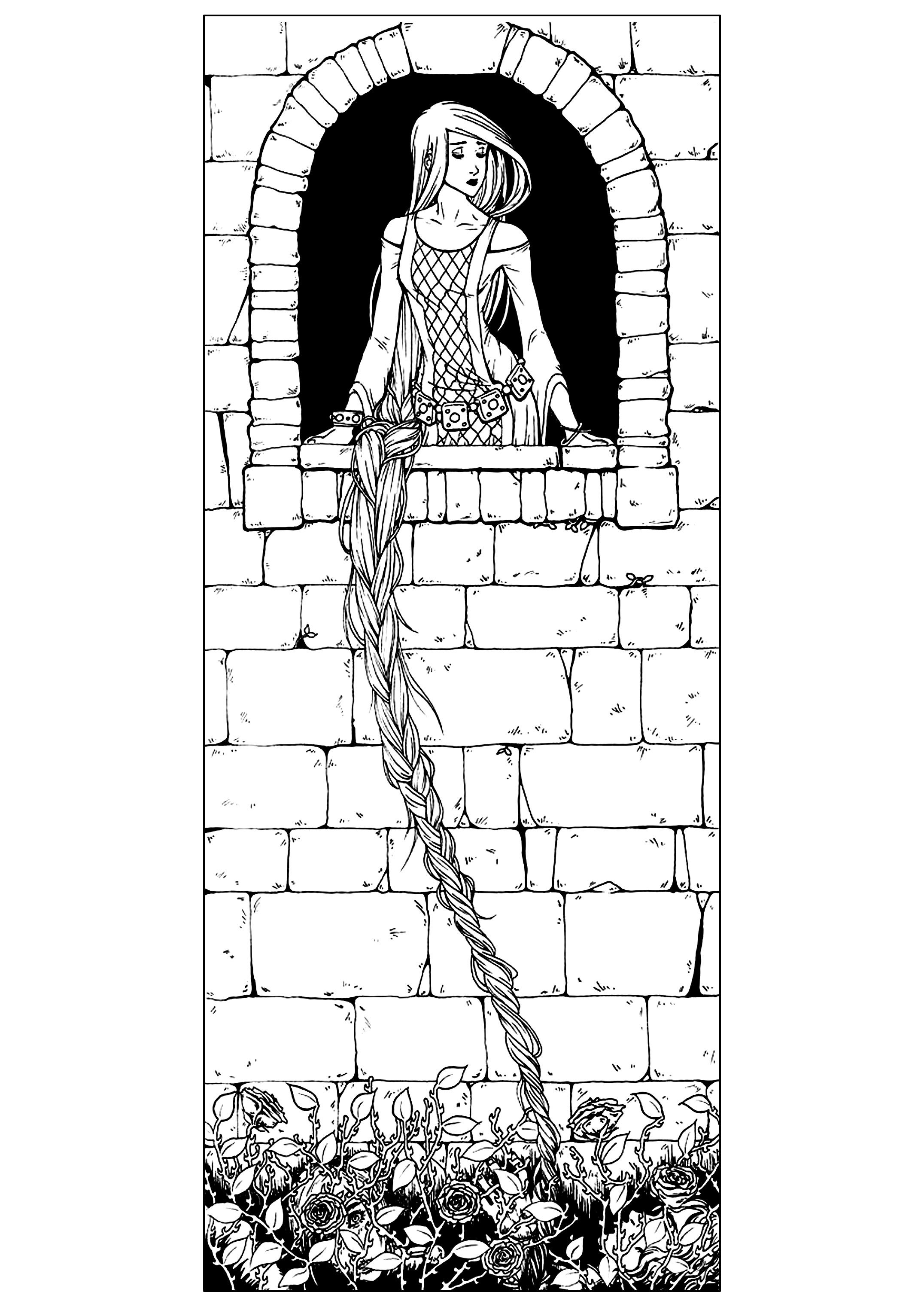 To print this free coloring page «coloring-adult-raiponce ...