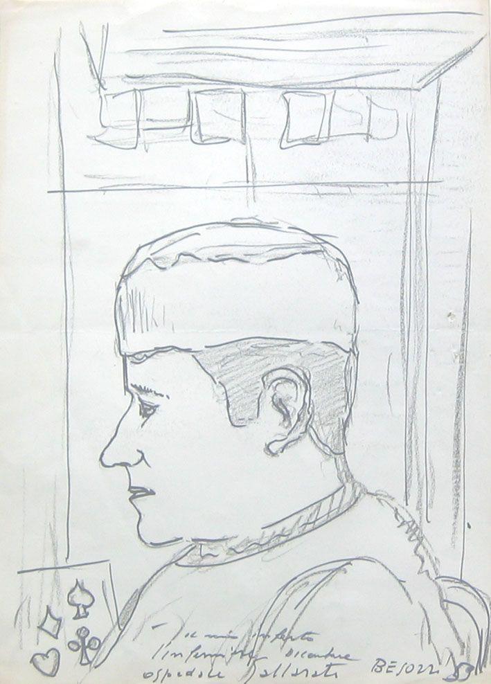E. Besozzi pitt. 1959 Infermiere pennarello e carboncino su carta cm. 33,5x24 arc. 334
