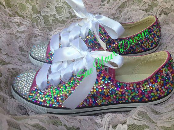 Swarovski Crystal Rhinestone Designed Converse - Wedding Shoes- Pageant Shoes - Custom Converse Shoes