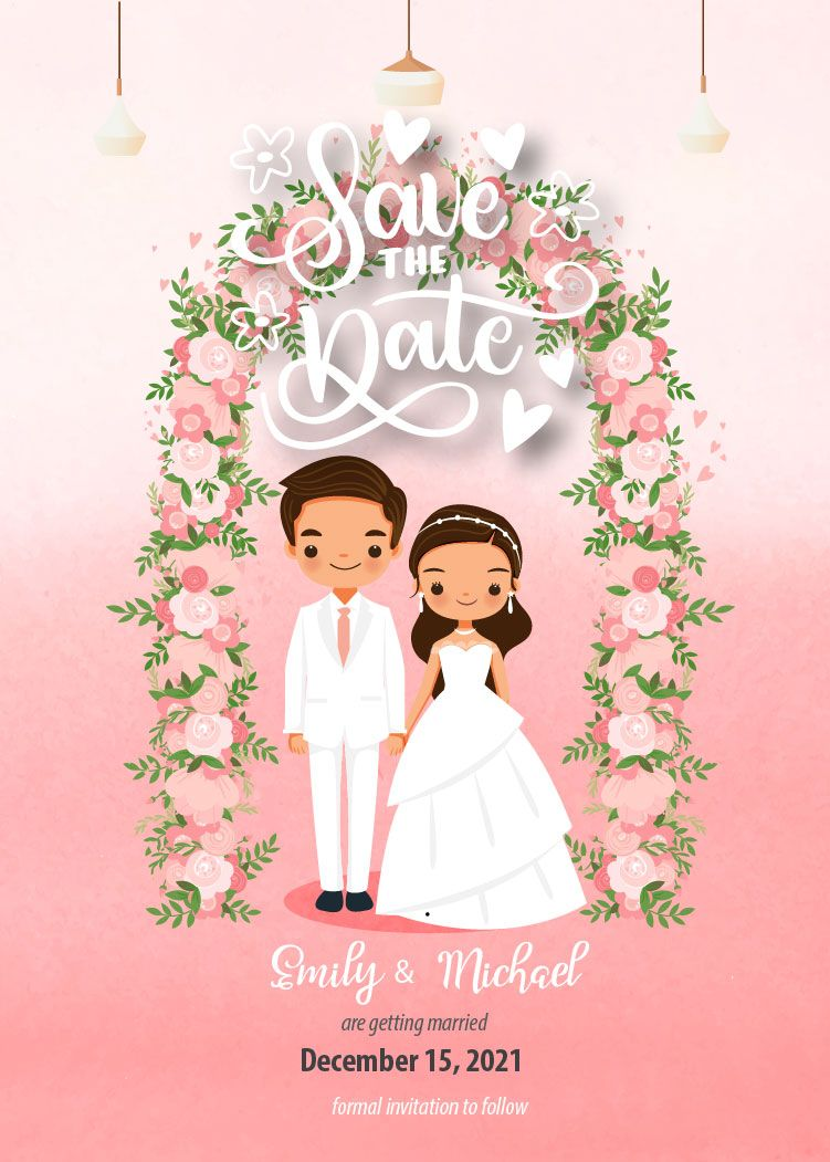 Cute Wedding Save The Date Template E Invititation Printable Invitation Instant Download Personalize Template Wd005923 Bride And Groom Cartoon Christian Wedding Cards Wedding Invitation Card Template