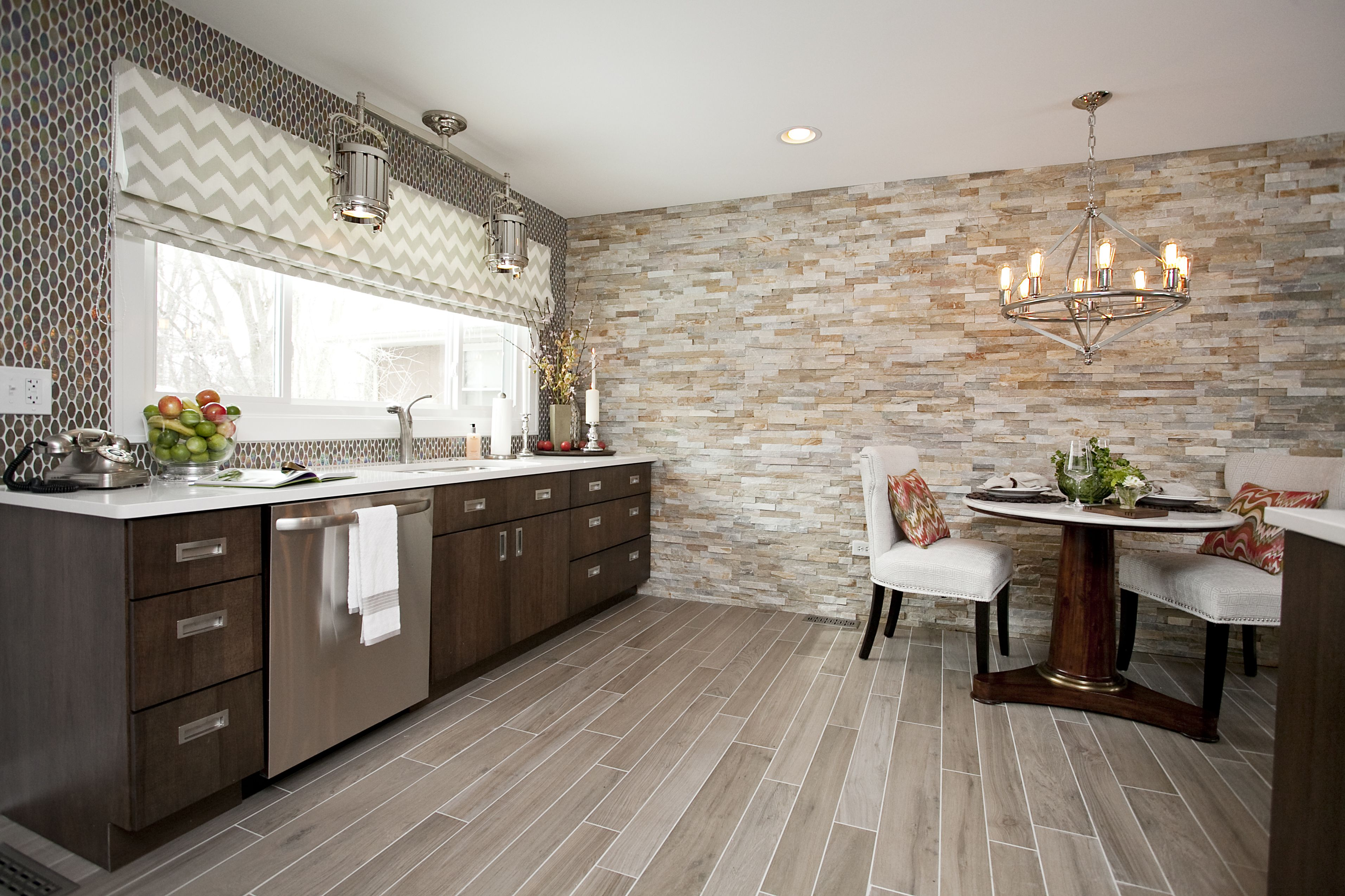 Contemporary Cabinetry, Faux Wood Floor Tile, Stacked