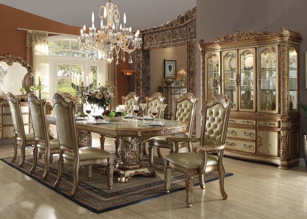 Vendome Gold 9 Piece Formal Dining Set - Inland Empire Furniture
