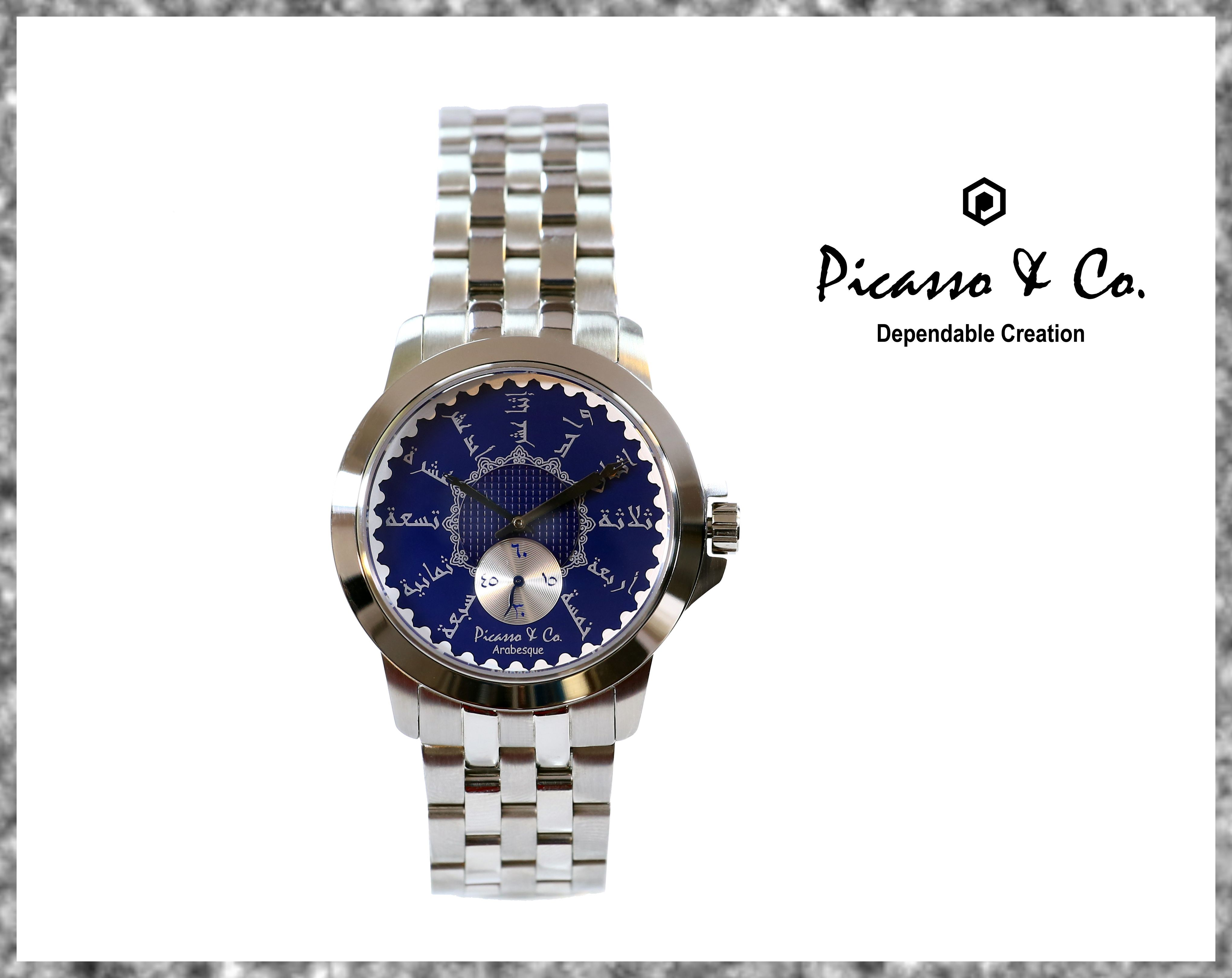 التصميم الكلاسيكي المميز ساعة ستيل بلون فضي وميناء كحلي واحرف عربية بالاضافة لجودة التصنيع تكفي لجعل ساعات بيكاسو ان Bracelet Watch Two Tone Watch Accessories