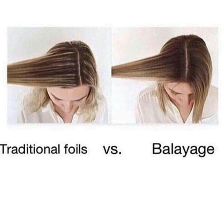 Traditional foil highlights vs balayage