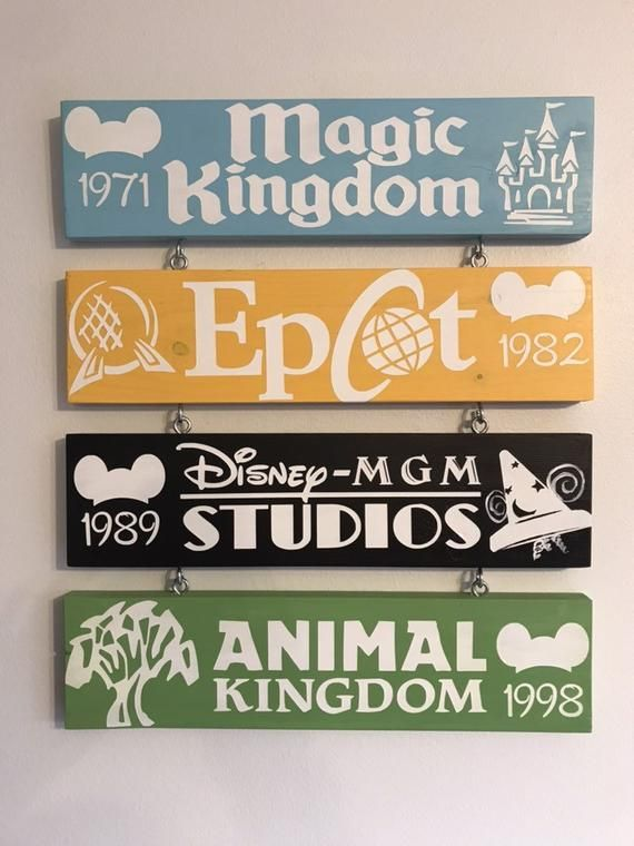 Hand painted Disney Parks signs. With year they we