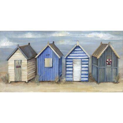 Painted Beach Hut Canvas 60 X 30cm At Homebase Peinture Maison