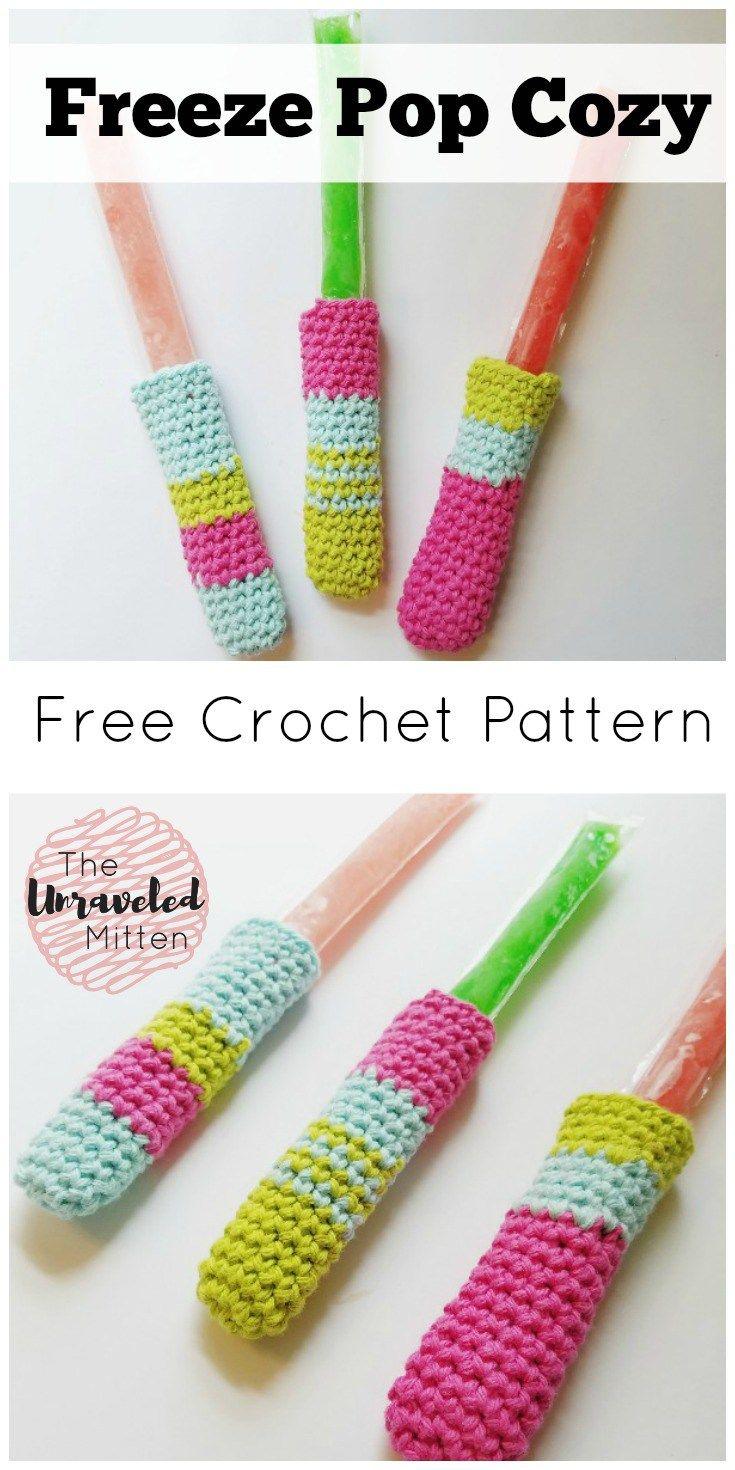 How to Crochet a Freeze Pop Cozy | Agarraderas, Ganchillo y Baño