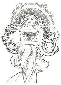 image result for alphonse mucha coloring pages