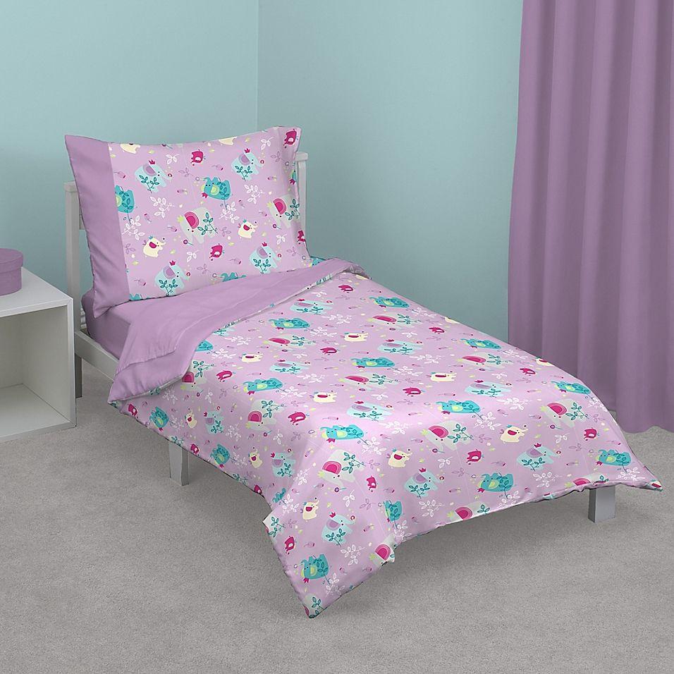 Zutano Elephant Princess Toddler Bedding Set In Lavender