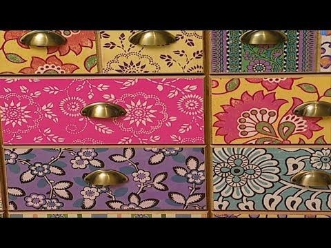 video tutorial mit tapeten und geschenkpapier schubladen bekleben geschenkpapier tapeten und. Black Bedroom Furniture Sets. Home Design Ideas