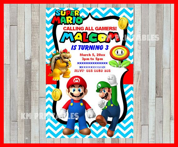 Mario Bros Invitation Printable Mario Bros Party Invitation Mario