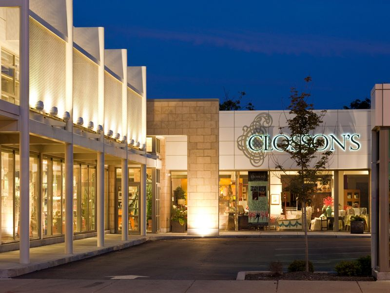 Modern shopping center metal fabric system from for Retail exterior design