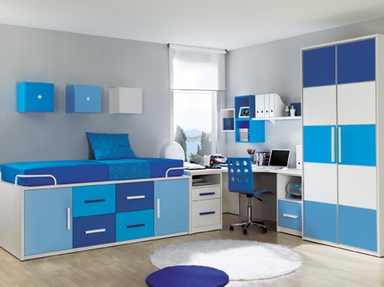 Habitacion juvenil azul habitacin juvenil blanca azul - Habitacion juvenil azul ...