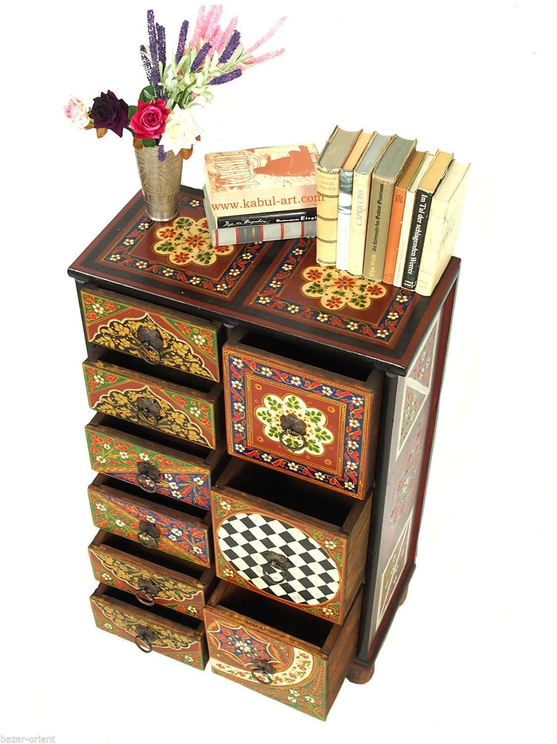 Handbemalte Massiv Holz Orientalische Kommode Schrank Cabinet Cupboard Mgl2 Orientalisch Holz Kommode