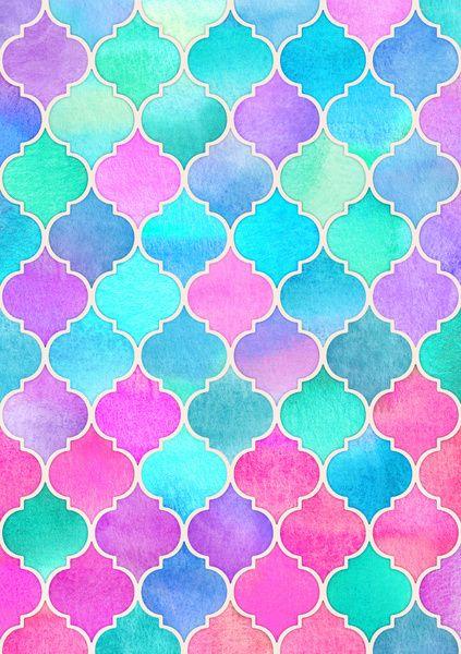 Bright moroccan morning pretty pastel color pattern art for Bright pretty colors