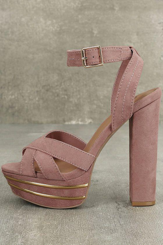 51d08ef2ea6 Brier Mauve Suede Platform Ankle Strap Heels