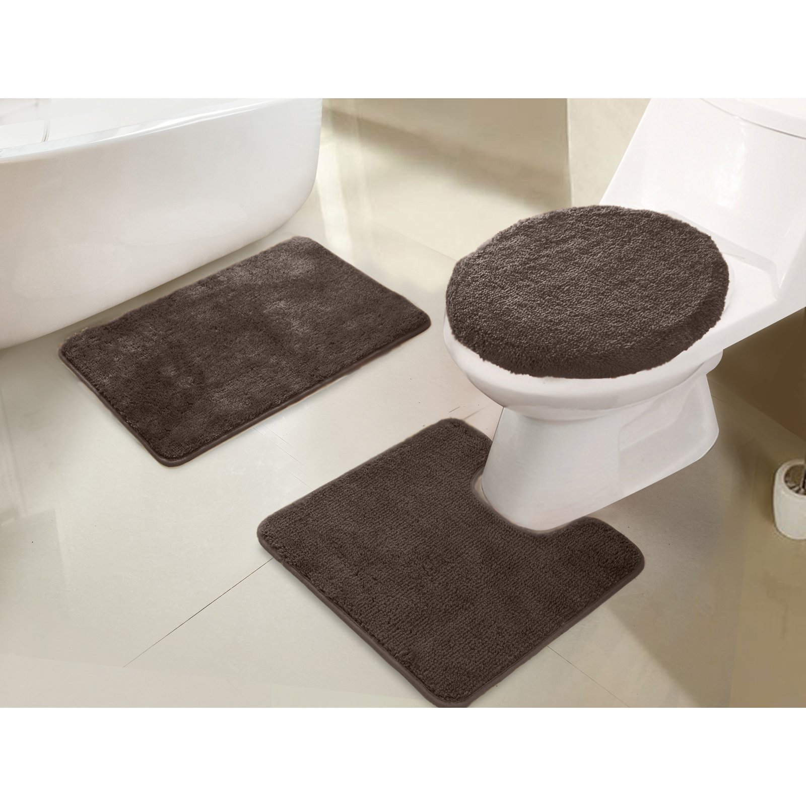 Rt Designers Collection Imperial 3 Piece Bath Rug Set Chocolate