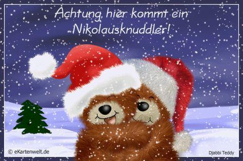 Achtung Hier Kommt Ein Nikolausknuddler Animierte Grusse Zum Nikolaus Mit Djabbi Teddys Im Schnee Grusse Zum Nikolaustag Weihnachtsgrusse Weihnachtswunsche