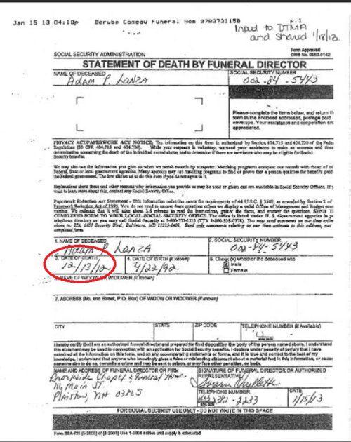 Adam Lanza Statement of Death by Funeral Director. It shows Adam ...