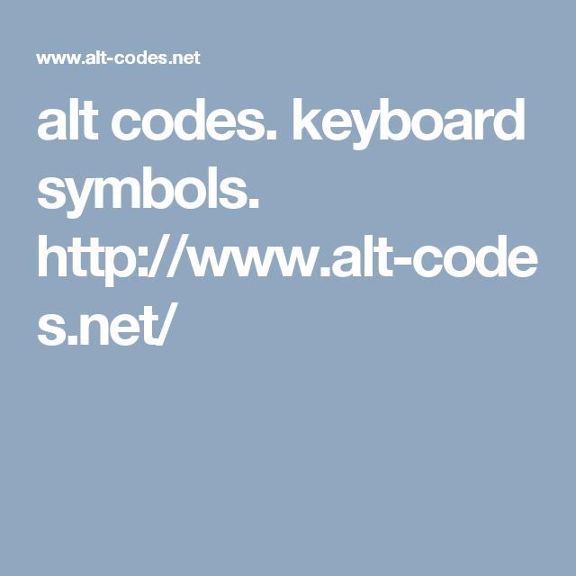 Alt Codes Keyboard Symbols Httpalt Codes My Shop