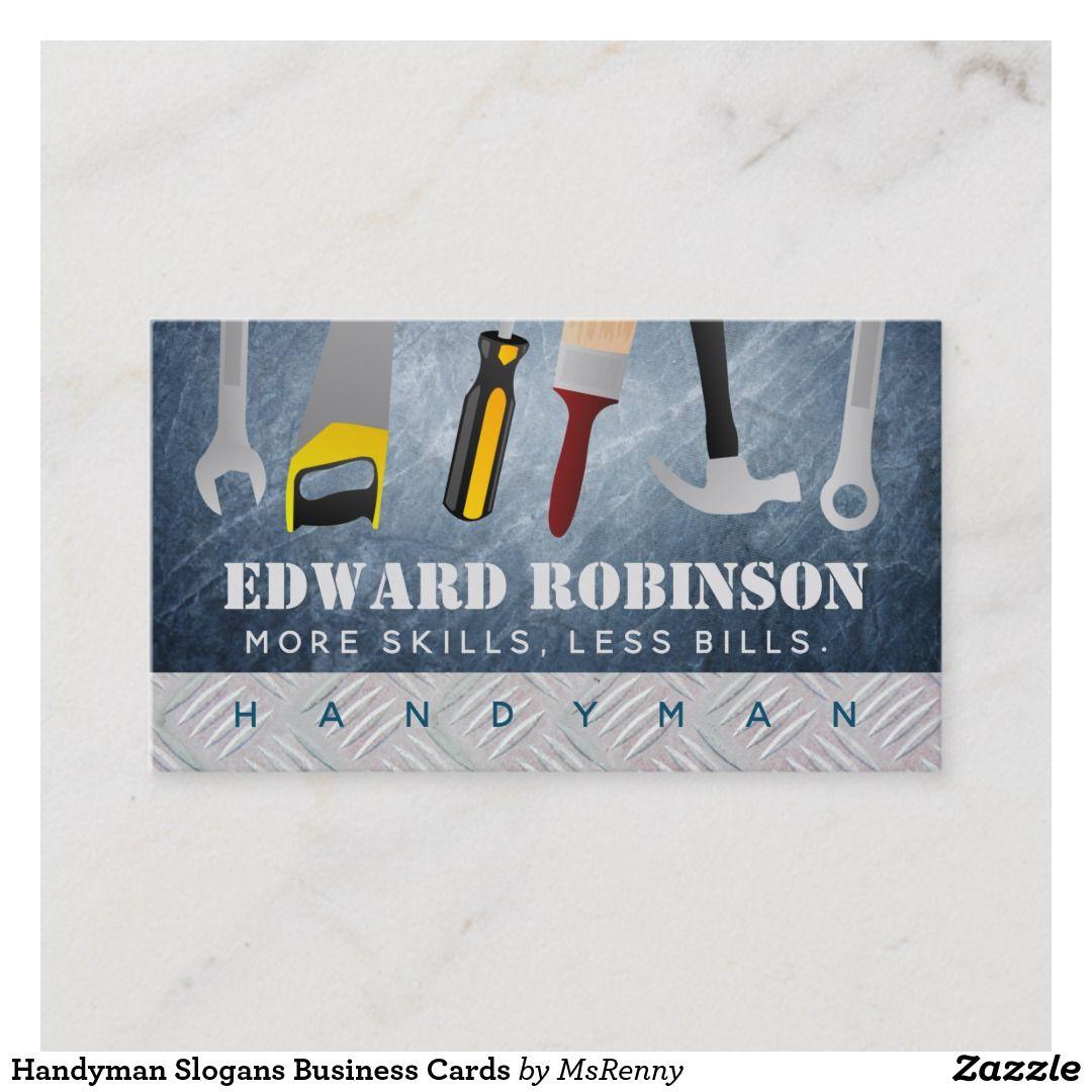Handyman Slogans Business Cards Zazzle Com Handyman Business Handyman Business Card Modern