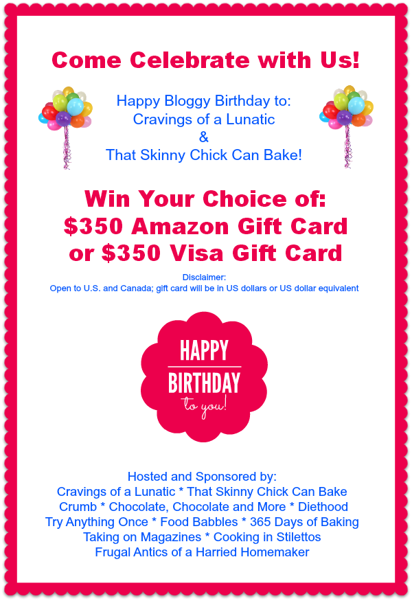 Bloggy Birthday Giveaway 350 Amazon Gift Card Or Visa Gift Card Visa Gift Card Birthday Giveaways Birthday Gift Cards