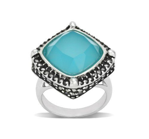 Apatite Glass and Sterling Silver, Cushion Ring  Price : $113.49 http://www.ulinkjewelers.com/Apatite-Glass-Sterling-Silver-Cushion/dp/B00CUKVD18
