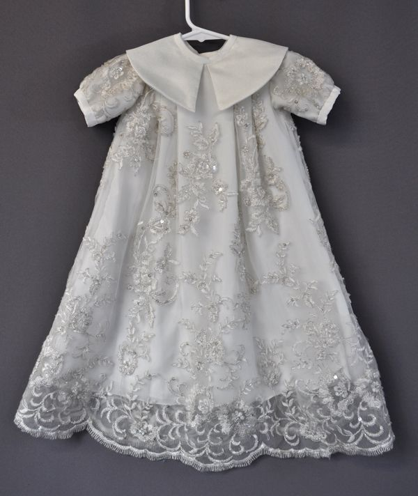 Simple Wedding Dress For Godmother: Ornate Unisex Christening Gown From Mother's Wedding Dress