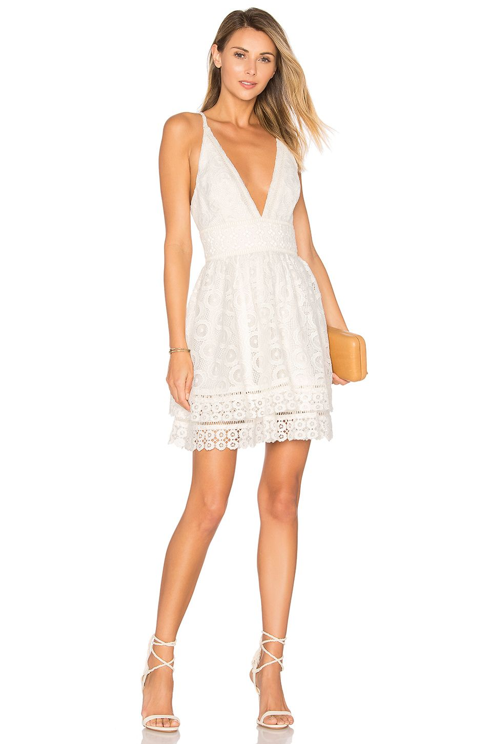 Lovers Friends Moon Dance Dress In Ivory White Lace Cocktail Dress Fit Flare Cocktail Dress Cocktail Dresses With Sleeves