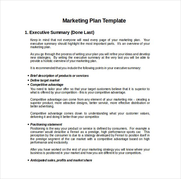 marketing business plan template