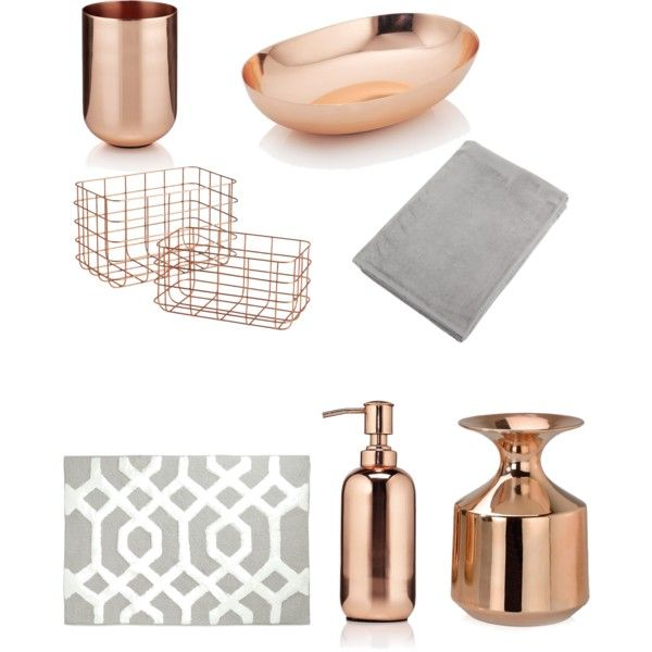Dream bathroom theme copper and grey hints of white for White and gold bathroom accessories