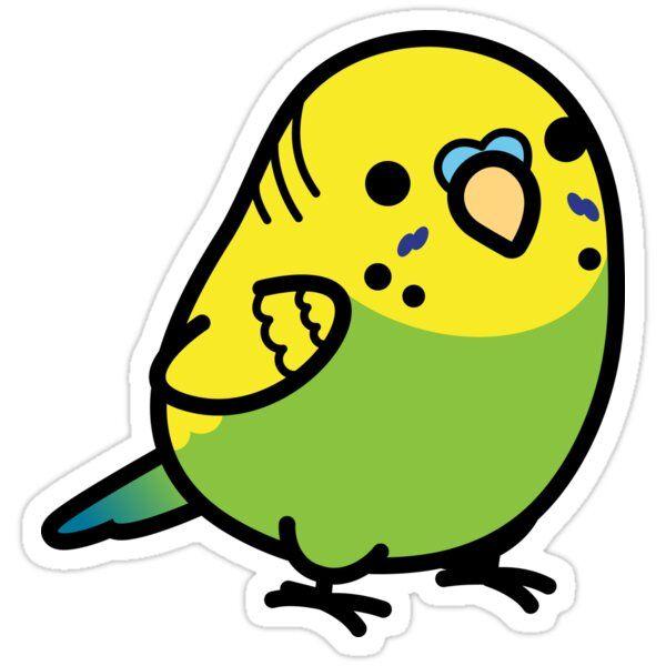 Chubby Green Budgie Male Sticker