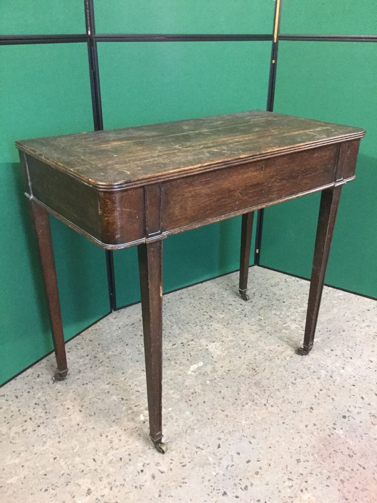 Antique Oak Side Console Cutlery Table With Lift Up Lid Table Oak Antiques