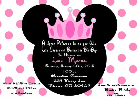 minnie mouse princess baby shower invitation printed with envelopes 15