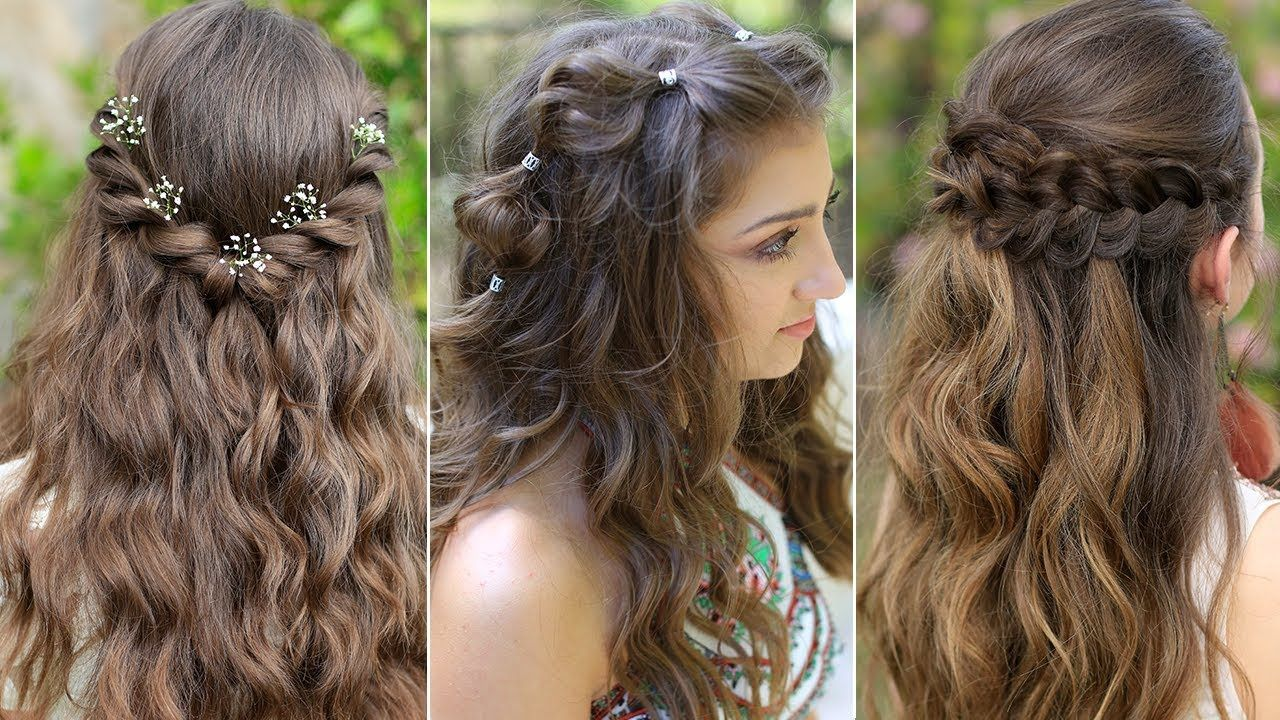 3 Easy Boho Prom Hairstyles Half Up Hairstyles Compilation 2019 Youtube Half Up Hair Up Hairstyles Hair Styles
