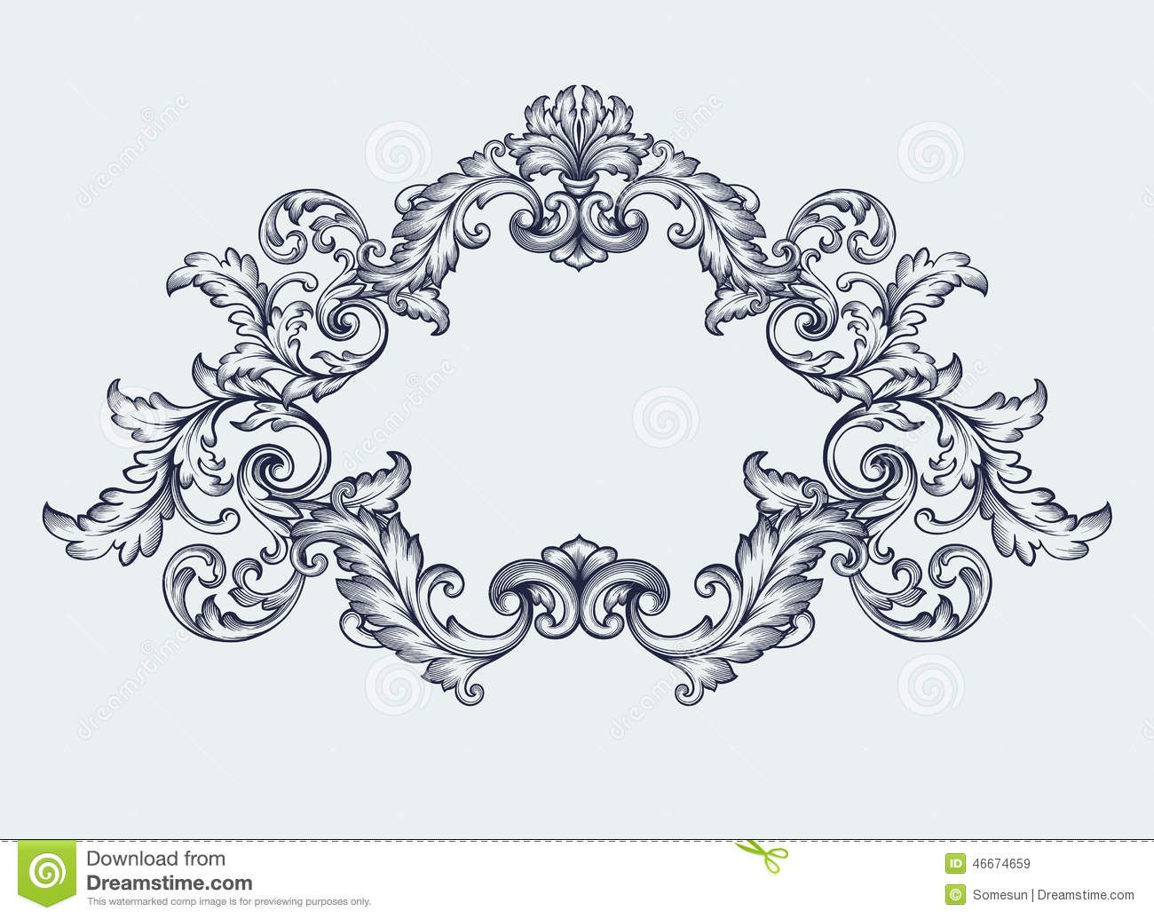 of vintage baroque engraving floral scroll filigree design frame vector art clipart and stock vectors