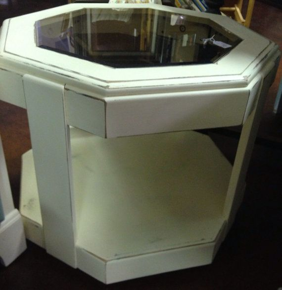 Shabby Chic End Table With Beveled Glass On Etsy 49 00 Beveled