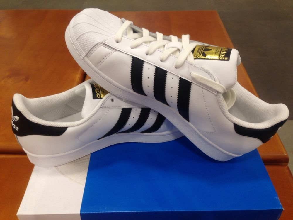 Adidas Original C77124 Superstar White Black Gold Label Foundation Kids GS  Men's | eBay