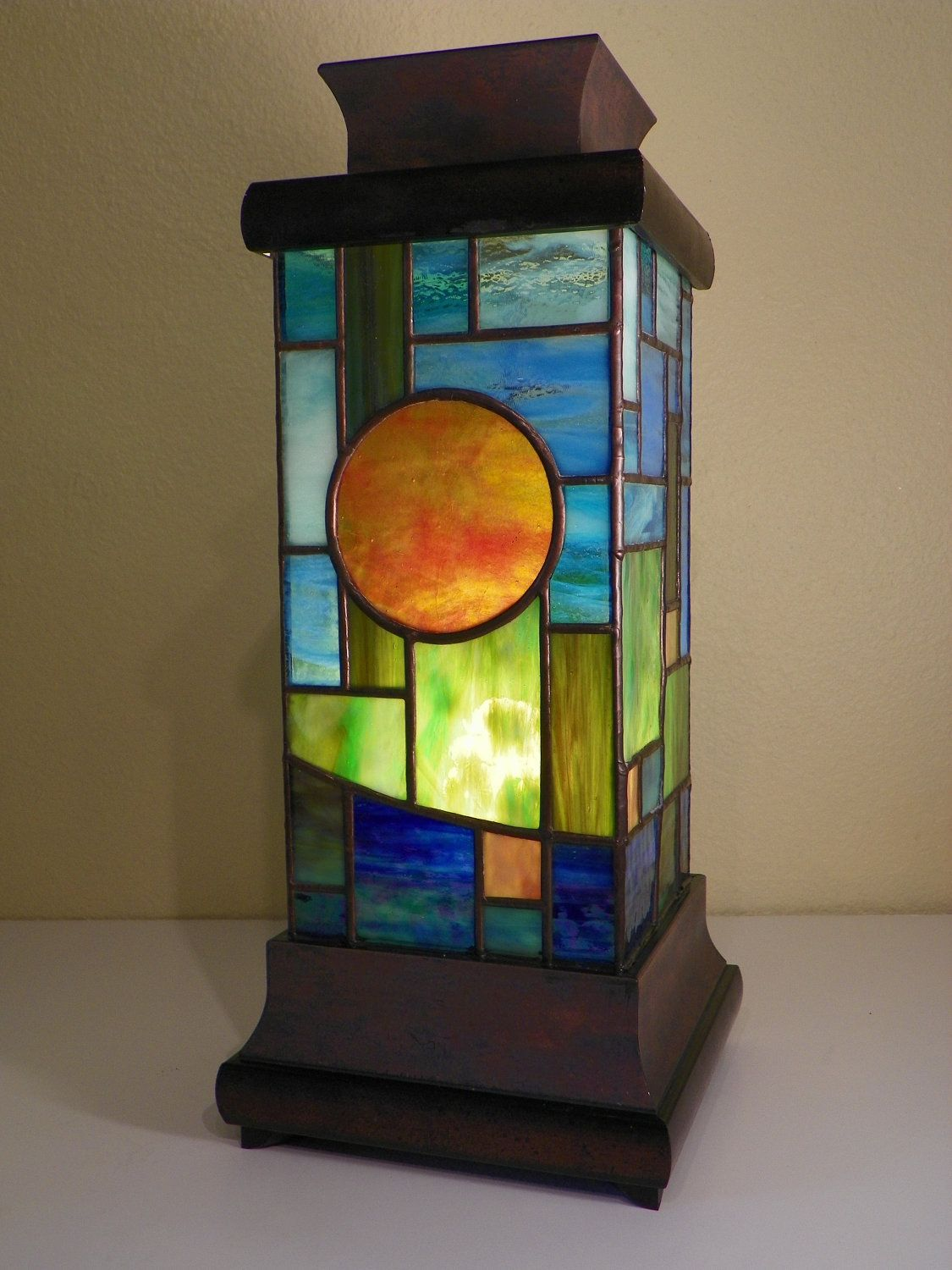 Modern Stained Gl Andon Lamp 579 00 Via Etsy
