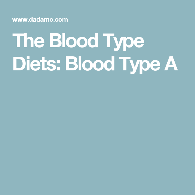 The Blood Type Diets: Blood Type A