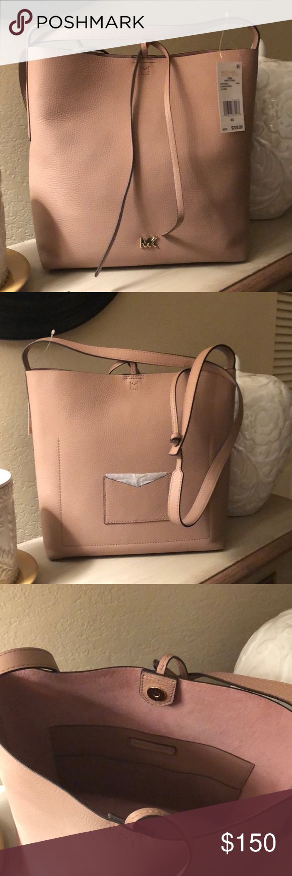 Michael Kors Large Messenger Michael Kors large messenger leather purse,  Junie style, fawn blush colored. Brand new with tags. Paid  160, lost  receipt and ... 67bdfa1b7e