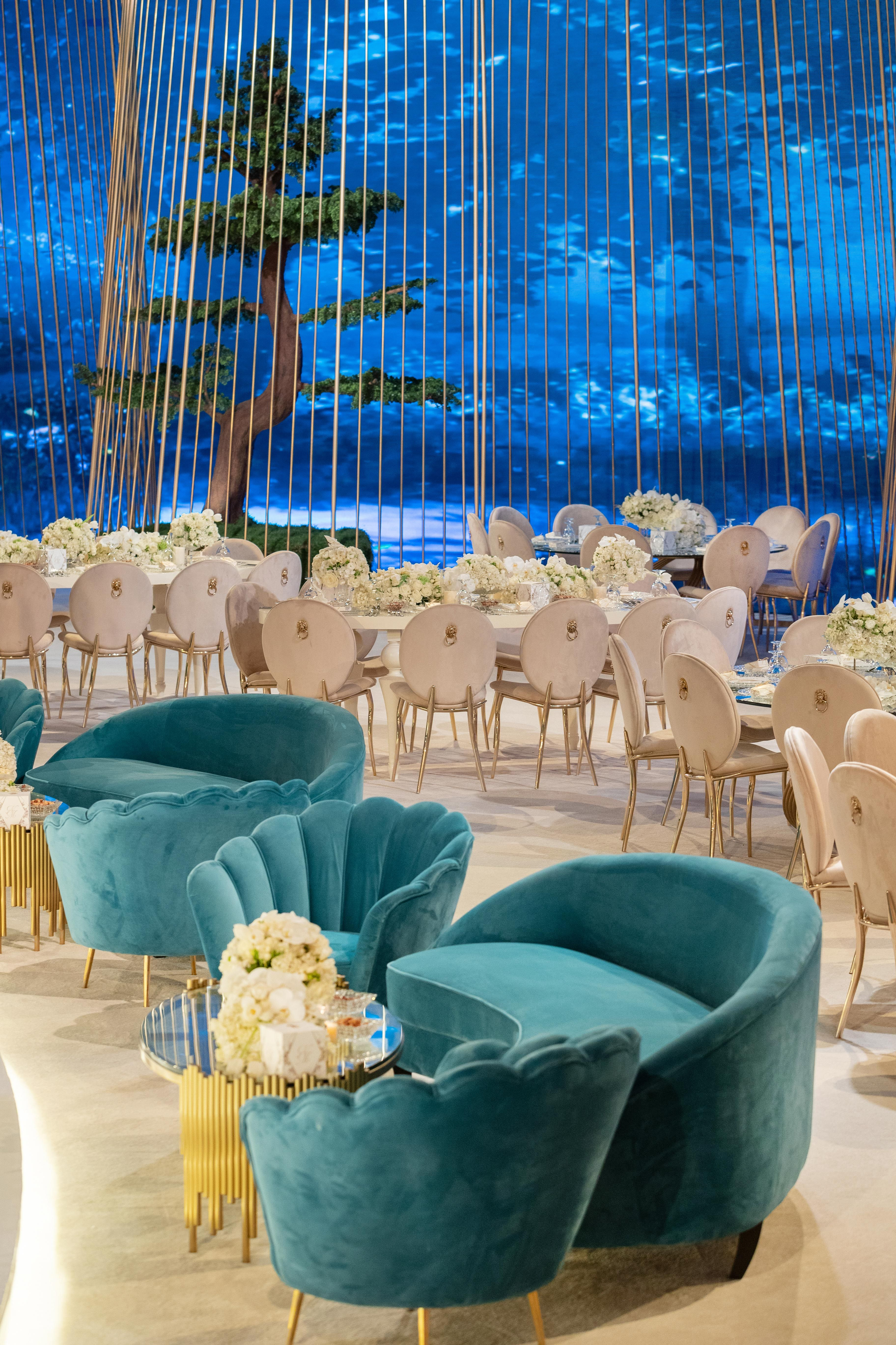 Wedding Lounge Sofa with Elegant Coffee Tables & Flower