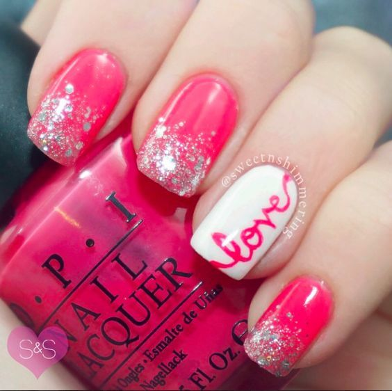 16 Valentine's Day Nail Art Designs to Fall in Love With!   Beautiful nail  art, Tape nail designs and Tape nails - 16 Valentine's Day Nail Art Designs To Fall In Love With