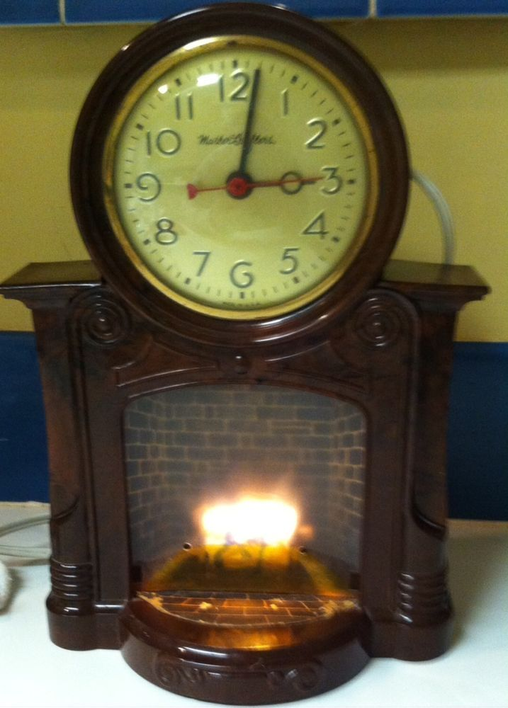 Fireplace Design fireplace clock : 1950's Vintage Master Crafters Animated Fireplace Electric Motion ...